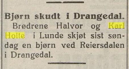 Avisoppslag i Laagendalsposten 17. des. 1926