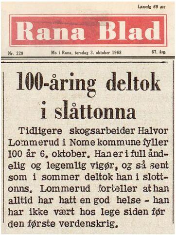 Halvor Lommerud d.e. - sprek 100-åring