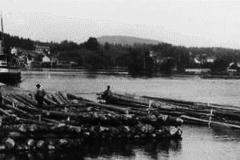 Tømmer og båt på Eidselva