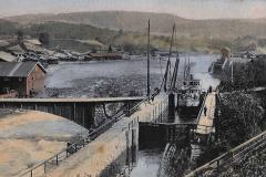Ulefoss sluser med gammelbrua 1907